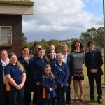 Minister Victor Dominello, right,  Menai MP Melanie Gibbons, second from left at the back, with Girl Guides NSW CEO Peta Gillies, NSW Girl Guides State Commissioner Belinda Allen and leaders of the Girls Guides from Leumeah and Campbelltown outside  Glenfield Girls Guide Hall today.