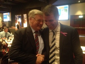 Mayor Lake with Premier Mike Baird at a chamber of commerce function at Wests Leagues last November.