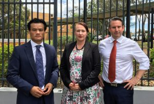 Ms Quinnell with the two local Labor MPs, Anoulack Chanthivong and Greg Warren.