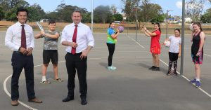 MPs Anoulack Chanthivong and Greg Warren at the Coronation Park netball courts in MInto this week.