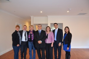 Brilliant design: Minister John Ajaka inspects the home in Liverpool with  the member for Menai Melanie Gibbons and the mayor of Liverpool Ned Mannoun.