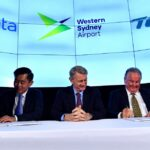 Western Sydney Airport CEO Graham Millett,Terrence Yong of Dnata and Noel Prosser of Toll Group during the WSA memorandum of understanding event at Western Sydney Airport, Thursday, 23 January 2020. Picture - WSA