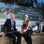 Stephanie Hall on the billboard promoting the NSW Foursomes championship at Campbelltown Golf Club, Glen Alpine.