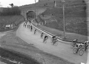 competitors in a Goulburn to Sydney cycle race entering Picton.