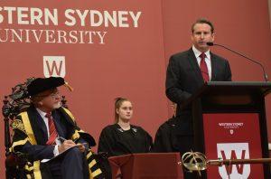 MP Greg Warren delivering his speech at the Western Sydney University graduation