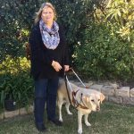 Rhonda McCaw and her guide dog, Shelly.