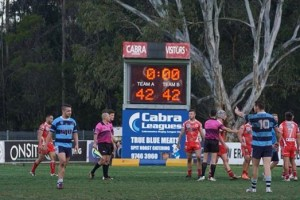 Incredible scoreline: The ground scoreboard tells the story of the match between the Eagles and Cabra.